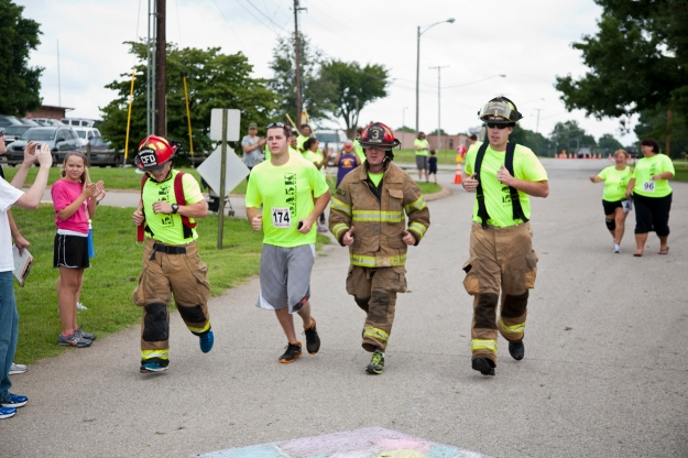 Firefighters running in gear!